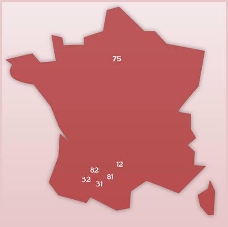carte des distributeurs - acheter vin Gaillac - achat vin Gaillac - vin Gaillac -